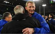 25 May 2019; Leinster head coach Leo Cullen celebrates with Frank Sowman, Chairman, Leinster Rugby, after the Guinness PRO14 Final match between Leinster and Glasgow Warriors at Celtic Park in Glasgow, Scotland. Photo by Brendan Moran/Sportsfile