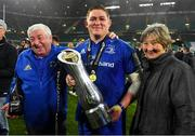 25 May 2019; Tadhg Furlong of Leinster celebrates with his parents James and Margaret after the Guinness PRO14 Final match between Leinster and Glasgow Warriors at Celtic Park in Glasgow, Scotland. Photo by Brendan Moran/Sportsfile