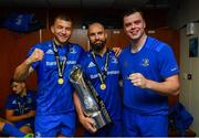 25 May 2019; Ross Molony, Scott Fardy, centre, and James Ryan of Leinster in the dressing room following the Guinness PRO14 Final match between Leinster and Glasgow Warriors at Celtic Park in Glasgow, Scotland. Photo by Ramsey Cardy/Sportsfile