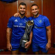 25 May 2019; Rob Kearney, left, and Dave Kearney of Leinster in the dressing room following the Guinness PRO14 Final match between Leinster and Glasgow Warriors at Celtic Park in Glasgow, Scotland. Photo by Ramsey Cardy/Sportsfile