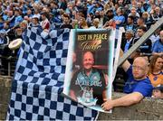 25 May 2019; Dublin supporter Terry Graham, from Finglas, with a tribute to his late Grand Dad Tucker O'Connor during the Leinster GAA Football Senior Championship Quarter-Final match between Louth and Dublin at O'Moore Park in Portlaoise, Laois. Photo by Ray McManus/Sportsfile