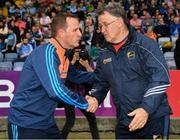 25 May 2019; Meath manager Andy McEntee, left, and Carlow manager Tommy Wogan after the Leinster GAA Football Senior Championship Quarter-Final match between Carlow and Meath at O'Moore Park in Portlaoise, Laois. Photo by Ray McManus/Sportsfile