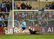 25 May 2019; Cormac Costello of Dublin beats Fergal Sheeky in the Louth goal to score a goal in the 55th minute during the Leinster GAA Football Senior Championship Quarter-Final match between Louth and Dublin at O'Moore Park in Portlaoise, Laois. Photo by Ray McManus/Sportsfile