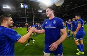 25 May 2019; James Ryan, right, and Jordan Larmour of Leinster following the Guinness PRO14 Final match between Leinster and Glasgow Warriors at Celtic Park in Glasgow, Scotland. Photo by Ramsey Cardy/Sportsfile