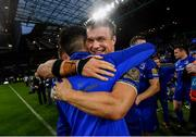 25 May 2019; Josh van der Flier of Leinster and Leinster sports scientist Peter Tierney following the Guinness PRO14 Final match between Leinster and Glasgow Warriors at Celtic Park in Glasgow, Scotland. Photo by Ramsey Cardy/Sportsfile