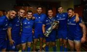 25 May 2019; Leinster players, from left, Rob Kearney, Nick McCarthy, Hugh O'Sullivan, Caelan Doris, Ed Byrne, Max Deegan and Andrew Porter in the dressing room following the Guinness PRO14 Final match between Leinster and Glasgow Warriors at Celtic Park in Glasgow, Scotland. Photo by James Lowe / Sportsfile
