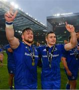 25 May 2019; Andrew Porter, left, and Jordan Larmour of Leinster following the Guinness PRO14 Final match between Leinster and Glasgow Warriors at Celtic Park in Glasgow, Scotland. Photo by Ramsey Cardy/Sportsfile