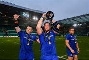 25 May 2019; Cian Healy, left, Andrew Porter and Seán Cronin of Leinster following the Guinness PRO14 Final match between Leinster and Glasgow Warriors at Celtic Park in Glasgow, Scotland. Photo by Ramsey Cardy/Sportsfile