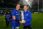 25 May 2019; Rhys Ruddock of Leinster and Leinster senior coach Stuart Lancaster following the Guinness PRO14 Final match between Leinster and Glasgow Warriors at Celtic Park in Glasgow, Scotland. Photo by Ramsey Cardy/Sportsfile
