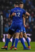 25 May 2019; Robbie Henshaw and Ross Byrne of Leinster celebrate after the Guinness PRO14 Final match between Leinster and Glasgow Warriors at Celtic Park in Glasgow, Scotland. Photo by Brendan Moran/Sportsfile
