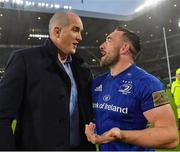 25 May 2019; Jack Conan of Leinster celebrates with team-mate Devin Toner after the Guinness PRO14 Final match between Leinster and Glasgow Warriors at Celtic Park in Glasgow, Scotland. Photo by Brendan Moran/Sportsfile
