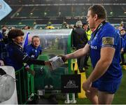 25 May 2019; Sean Cronin of Leinster is given a present by supporters Donna and jennifer Malone after the Guinness PRO14 Final match between Leinster and Glasgow Warriors at Celtic Park in Glasgow, Scotland. Photo by Brendan Moran/Sportsfile
