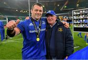 25 May 2019; Cian Healy of Leinster celebrates with his dad Don after the Guinness PRO14 Final match between Leinster and Glasgow Warriors at Celtic Park in Glasgow, Scotland. Photo by Brendan Moran/Sportsfile