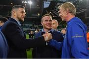 25 May 2019; Leinster head coach Leo Cullen, right, celebrates with Josh Murphy and Peter Dooley after the Guinness PRO14 Final match between Leinster and Glasgow Warriors at Celtic Park in Glasgow, Scotland. Photo by Brendan Moran/Sportsfile