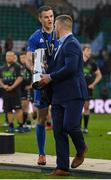 25 May 2019; Leinster captain Jonathan Sexton hands the trophy to team-mate Sean O'Brien after the Guinness PRO14 Final match between Leinster and Glasgow Warriors at Celtic Park in Glasgow, Scotland. Photo by Brendan Moran/Sportsfile