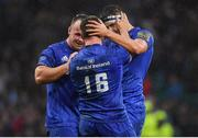 25 May 2019; Leinster players, from left, Ed Byrne Bryan Byrne and Max Deegan celebrate after the Guinness PRO14 Final match between Leinster and Glasgow Warriors at Celtic Park in Glasgow, Scotland. Photo by Brendan Moran/Sportsfile