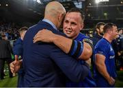 25 May 2019; Ed Byrne of Leinster celebrates with contact skills coach Hugh Hogan after the Guinness PRO14 Final match between Leinster and Glasgow Warriors at Celtic Park in Glasgow, Scotland. Photo by Brendan Moran/Sportsfile