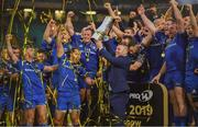 25 May 2019; Seán O'Brien of Leinster celebrates with his team-mates and the trophy after the Guinness PRO14 Final match between Leinster and Glasgow Warriors at Celtic Park in Glasgow, Scotland. Photo by Brendan Moran/Sportsfile