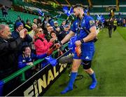 25 May 2019; Robbie Henshaw of Leinster gives his boots to a supporter after the Guinness PRO14 Final match between Leinster and Glasgow Warriors at Celtic Park in Glasgow, Scotland. Photo by Brendan Moran/Sportsfile