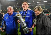 25 May 2019; Cian Healy of Leinster celebrates with his parents James and Margaret after the Guinness PRO14 Final match between Leinster and Glasgow Warriors at Celtic Park in Glasgow, Scotland. Photo by Brendan Moran/Sportsfile