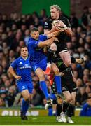 25 May 2019; Stuart Hogg of Glasgow Warriors is tackled by Rob Kearney of Leinster, resulting in a yellow card for Rob Kearney, during the Guinness PRO14 Final match between Leinster and Glasgow Warriors at Celtic Park in Glasgow, Scotland. Photo by Brendan Moran/Sportsfile