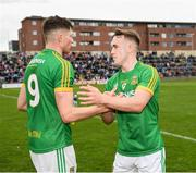 25 May 2019; Meath players Adam Flanagan, 9, and Ronan Ryan after the Leinster GAA Football Senior Championship Quarter-Final match between Carlow and Meath at O'Moore Park in Portlaoise, Laois. Photo by Ray McManus/Sportsfile