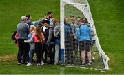 25 May 2019; The Dublin captain Stephen Cluxton poses for photographs with supporters after the Leinster GAA Football Senior Championship Quarter-Final match between Louth and Dublin at O'Moore Park in Portlaoise, Laois. He stayed on the pitch for almost twenty five minutes to facilitate many supporters. Photo by Ray McManus/Sportsfile