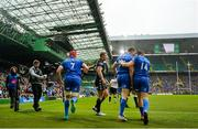 25 May 2019; Garry Ringrose, 13, and Jordan Larmour of Leinster celebrates after scoring his side's first try during the Guinness PRO14 Final match between Leinster and Glasgow Warriors at Celtic Park in Glasgow, Scotland. Photo by Ramsey Cardy/Sportsfile