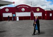 26 May 2019; A Wexford supporter arrives at Pearse Stadium prior to the Leinster GAA Hurling Senior Championship Round 3A match between Galway and Wexford at Pearse Stadium in Galway. Photo by Stephen McCarthy/Sportsfile