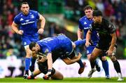 25 May 2019; Robbie Henshaw of Leinster is tackled by Grant Stewart of Glasgow Warriors during the Guinness PRO14 Final match between Leinster and Glasgow Warriors at Celtic Park in Glasgow, Scotland. Photo by Ramsey Cardy/Sportsfile