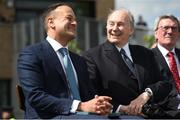 26 May 2019; Taoiseach Leo Varadkar and the Aga Khan during the offical opening of the new stand and facilities at The Curragh Racecourse in Kildare. Photo by Barry Cregg/Sportsfile