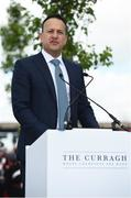 26 May 2019; Taoiseach Leo Varadkar speaking during the offical opening of the new stand and facilities at The Curragh Racecourse in Kildare. Photo by Barry Cregg/Sportsfile
