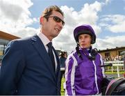 26 May 2019; Son of the owner of Magical, Paul Smith, with jockey Ryan Moore after winning the Tattersalls Gold Cup (Group 1) at The Curragh Racecourse in Kildare. Photo by Barry Cregg/Sportsfile