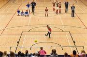 26 May 2019; Goalkeeper Conor McKeown of Inniskeen, Co Monaghan, scores the winning penalty in the penalty shoot-out at the Indoor Soccer U13 Boys Semi-Final event during Day 2 of the Aldi Community Games May Festival, which saw over 3,500 children take part in a fun-filled weekend at University of Limerick. Photo by Piaras Ó Mídheach/Sportsfile