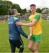 26 May 2019; Fermanagh Manager Rory Gallagher shakes hands with Jason McGee of Donegal after the Ulster GAA Football Senior Championship Quarter-Final match between Fermanagh and Donegal at Brewster Park in Enniskillen, Fermanagh. Photo by Oliver McVeigh/Sportsfile