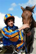 26 May 2019; Jockey Ryan Moore with Hermosa after winning the Tattersalls Irish 1,000 Guineas (Group 1) at The Curragh Racecourse in Kildare. Photo by Barry Cregg/Sportsfile