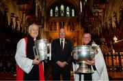 26 May 2019; In attendance at a Ecumenical Service celebrating contribution to the GAA of all faiths at St Patrick's Cathedral in Dublin, are, from left, Archbishop of Dublin Michael Jackson, Uachtaráin Cumann Lúthchleas Gael John Horan, and Rev Charles Mullen, Dean's Vicar of St Patrick's Cathedral. Photo by Ramsey Cardy/Sportsfile