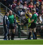 26 May 2019; Wexford manager Davy Fitzgerald is sent to the stand by referee Johnny Murphy during the Leinster GAA Hurling Senior Championship Round 3A match between Galway and Wexford at Pearse Stadium in Galway. Photo by Stephen McCarthy/Sportsfile