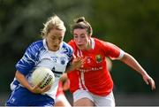 26 May 2019; Maria Delahunty of Waterford in action against Shauna Kelly of Cork during the TG4 Munster Ladies Senior Football Championship Round 2 match between Cork and Waterford at Cork Institute of Technology in Cork. Photo by Eóin Noonan/Sportsfile *** NO REPRODUCTION FEE ***