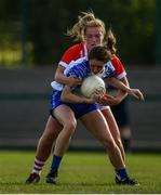 26 May 2019; Roisin Tobin of Waterford in action against Saoirse Noonan of Cork during the TG4 Munster Ladies Senior Football Championship Round 2 match between Cork and Waterford at Cork Institute of Technology in Cork. Photo by Eóin Noonan/Sportsfile