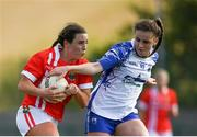 26 May 2019; Orlagh Farmer of Cork in action against Kellyann Hogan of Waterford during the TG4 Munster Ladies Senior Football Championship Round 2 match between Cork and Waterford at Cork Institute of Technology in Cork. Photo by Eóin Noonan/Sportsfile *** NO REPRODUCTION FEE ***