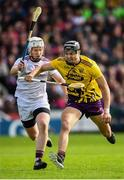 26 May 2019; Jack O'Connor of Wexford in action against John Hanbury of Galway during the Leinster GAA Hurling Senior Championship Round 3A match between Galway and Wexford at Pearse Stadium in Galway. Photo by Stephen McCarthy/Sportsfile