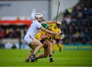 26 May 2019; Conor McDonald of Wexford in action against Daithí Burke of Galway during the Leinster GAA Hurling Senior Championship Round 3A match between Galway and Wexford at Pearse Stadium in Galway. Photo by Stephen McCarthy/Sportsfile