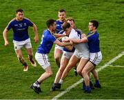 26 May 2019; Kevin O'Callaghan of Kildare is surrounded by Longford players, Colm P. Smyth, Andrew Farrell, James McGivney, Padraig McCormack and David McGivney in the last seconds of the GAA Football Senior Championship Quarter-Final match between Longford and Kildare at Bord na Mona O'Connor Park in Tullamore, Offaly. Photo by Ray McManus/Sportsfile