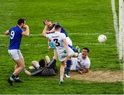 26 May 2019; David McGivney of Longford , left, looks on as Michael Quinn of Longford, hidden by the Kildare full back David Hyland, shoots past goalkeeper Mark Donnellan and Eoin Doyle to score a goal during extra trime in the the GAA Football Senior Championship Quarter-Final match between Longford and Kildare at Bord na Mona O'Connor Park in Tullamore, Offaly. Photo by Ray McManus/Sportsfile