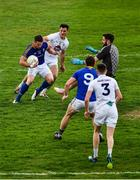 26 May 2019; David McGivney, 9, of Longford, looks on as Michael Quinn of Longford, shoots past goalkeeper Mark Donnellan and Eoin Doyle and Kildare full back David Hyland to score a goal during extra trime in the the GAA Football Senior Championship Quarter-Final match between Longford and Kildare at Bord na Mona O'Connor Park in Tullamore, Offaly. Photo by Ray McManus/Sportsfile