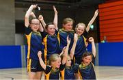 26 May 2019; Boherlahan Dualla, Co Tipperary, players, back row, from left, Abbie Horgan, Neasa Dwan, Sophie Moynihan and Grace Power, back row, from left, Aoife O'Donnell, Robyn Leahy and Leah O'Connell who beat Killoe of Longford in the indoor soccer U10 Girls final during Day 2 of the Aldi Community Games May Festival, which saw over 3,500 children take part in a fun-filled weekend at University of Limerick. Photo by Piaras Ó Mídheach/Sportsfile