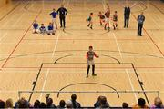 26 May 2019; Goalkeeper Conor McKeown of Inniskeen, Co Monaghan, celebrates after scoring the winning penalty in the penalty shoot-out at the Indoor Soccer U13 Boys Semi-Final against Clonguish, Co Longford, during Day 2 of the Aldi Community Games May Festival, which saw over 3,500 children take part in a fun-filled weekend at University of Limerick. Photo by Piaras Ó Mídheach/Sportsfile