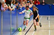 26 May 2019; Emily Quinn of Killoe, Co Longford, left, in action against Sophie Moynihan of Boherlahan Dualla, Co Tipperary, in the indoor soccer U10 Girls final during Day 2 of the Aldi Community Games May Festival, which saw over 3,500 children take part in a fun-filled weekend at University of Limerick. Photo by Piaras Ó Mídheach/Sportsfile