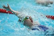 26 May 2019; Alice McPartlan of St Mary's, Co Sligo, competing in the Backstroke U16 event during Day 2 of the Aldi Community Games May Festival, which saw over 3,500 children take part in a fun-filled weekend at University of Limerick. Photo by Piaras Ó Mídheach/Sportsfile
